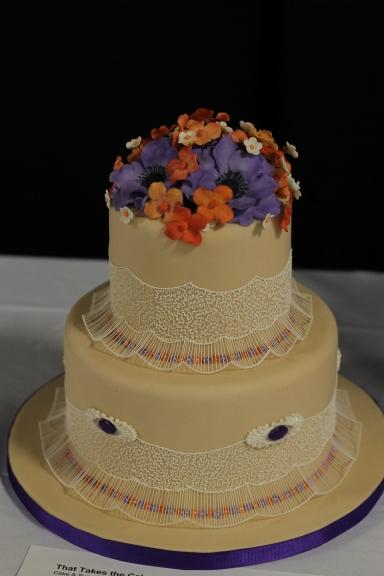 Flower and eyelet cake