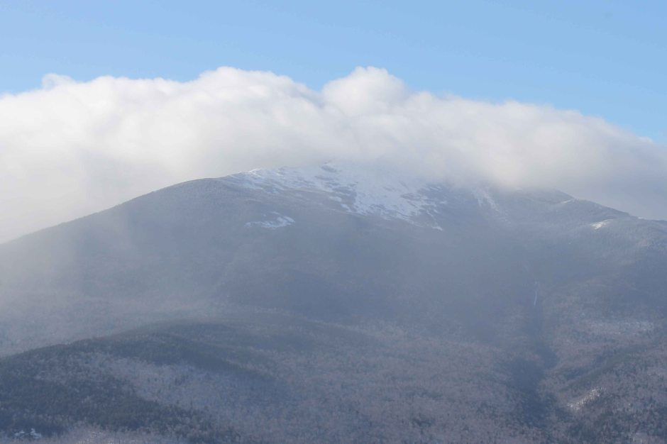 white mountains, fog, winter, winter sky